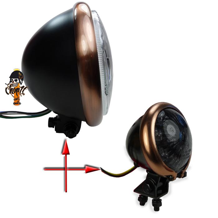 bates style motorradscheinwerfer und r cklicht mit kupferring copper headlight ebay. Black Bedroom Furniture Sets. Home Design Ideas