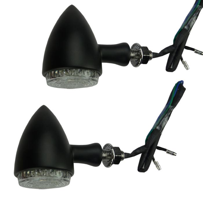 motorrad led blinker schwarz in aluminium geh use e. Black Bedroom Furniture Sets. Home Design Ideas